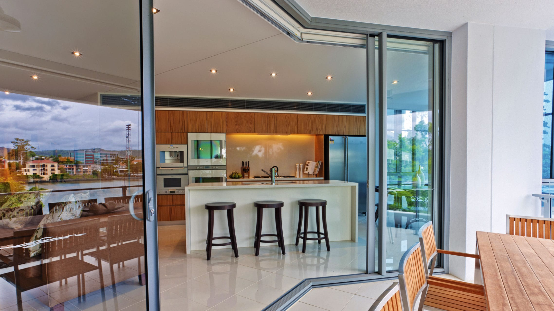 Aluminium 135 degree Corner Sliding Doors