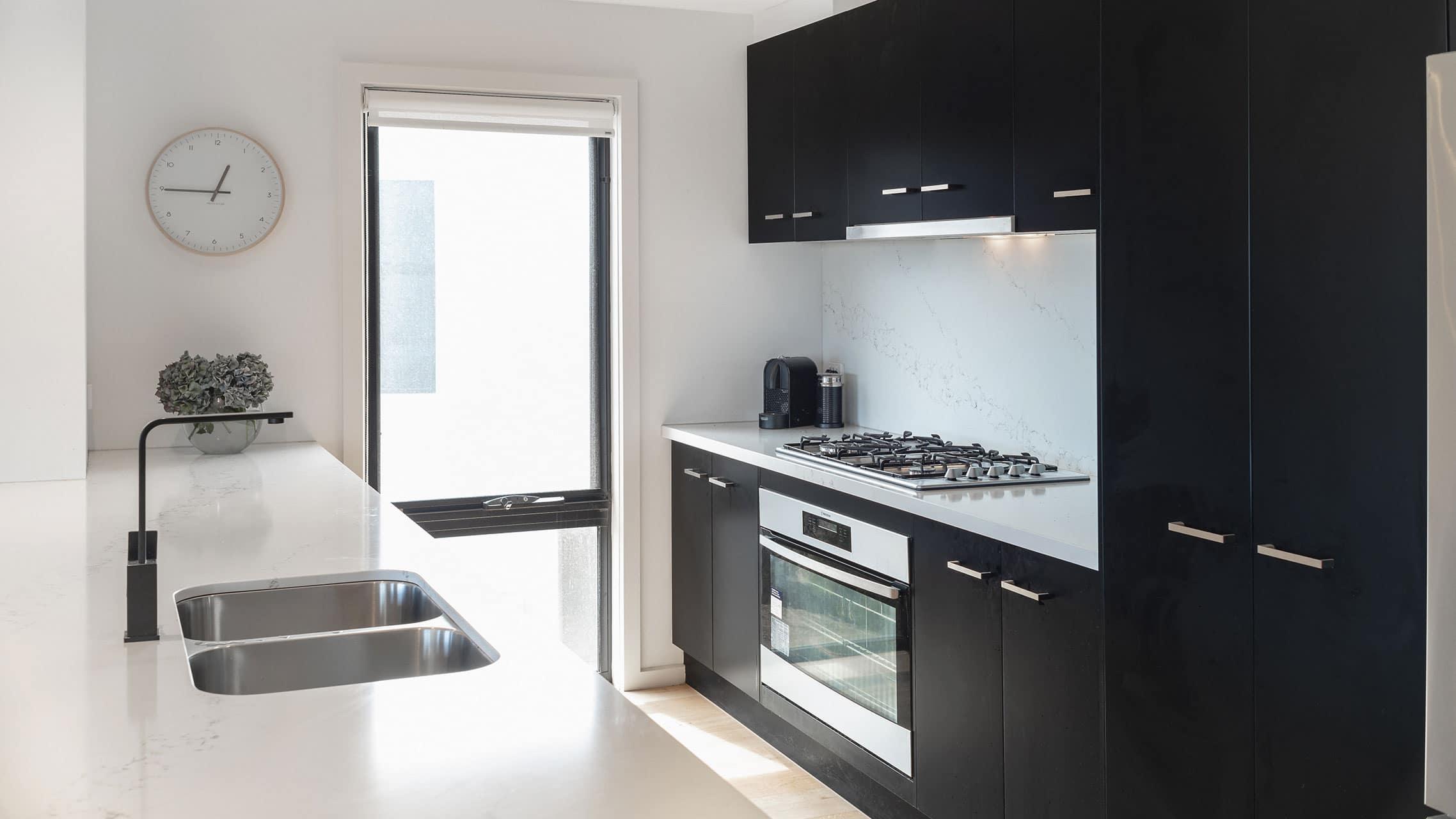 Black Aluminium Awning Window in a kitchen