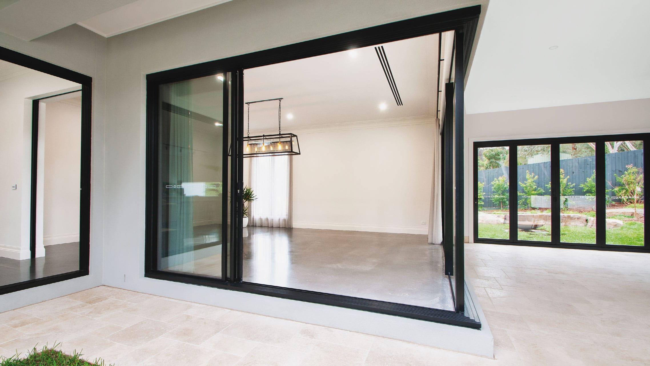 Black Aluminium Corner Sliding Doors