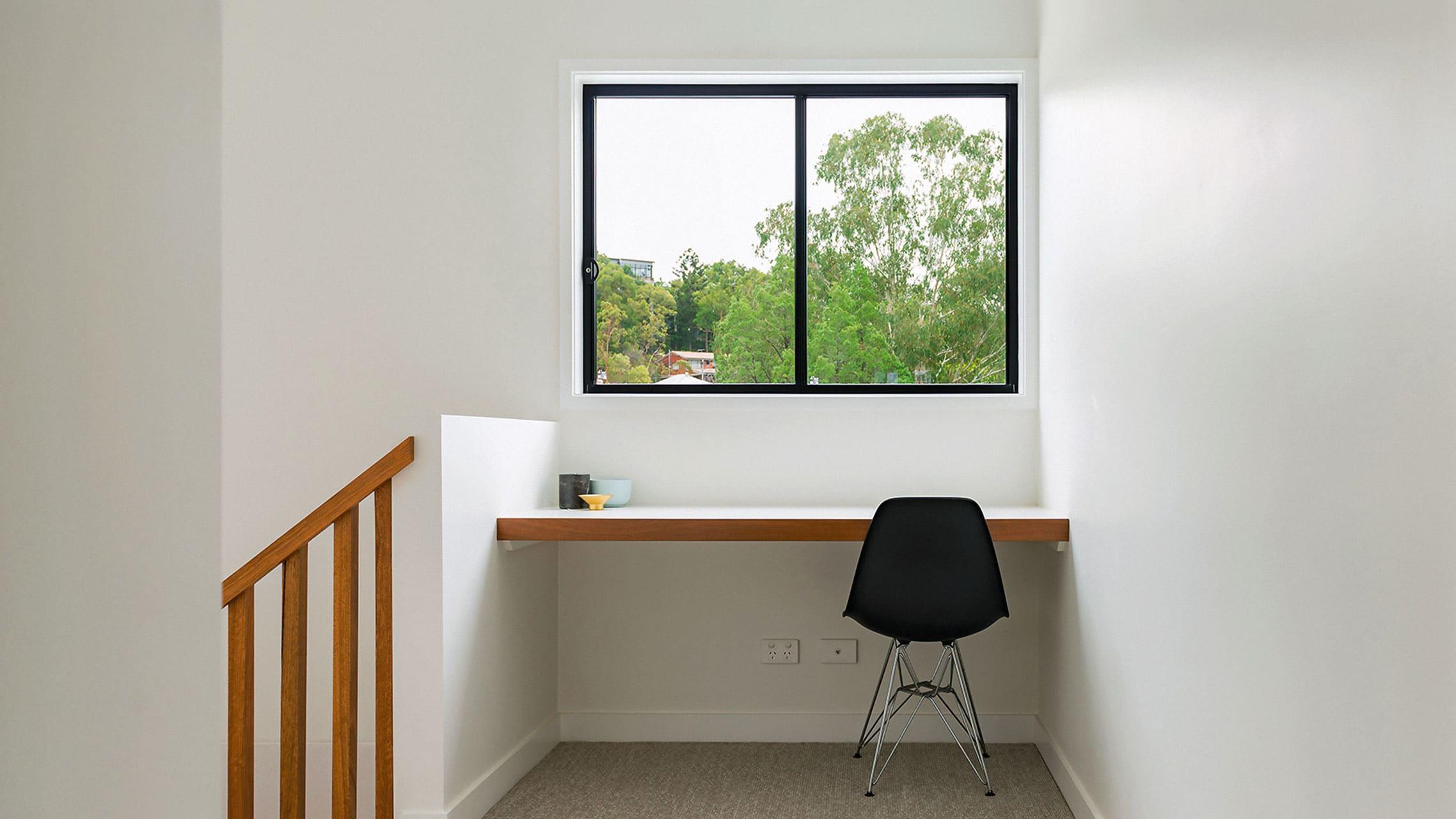Black Aluminium Sliding Windows near the stairs