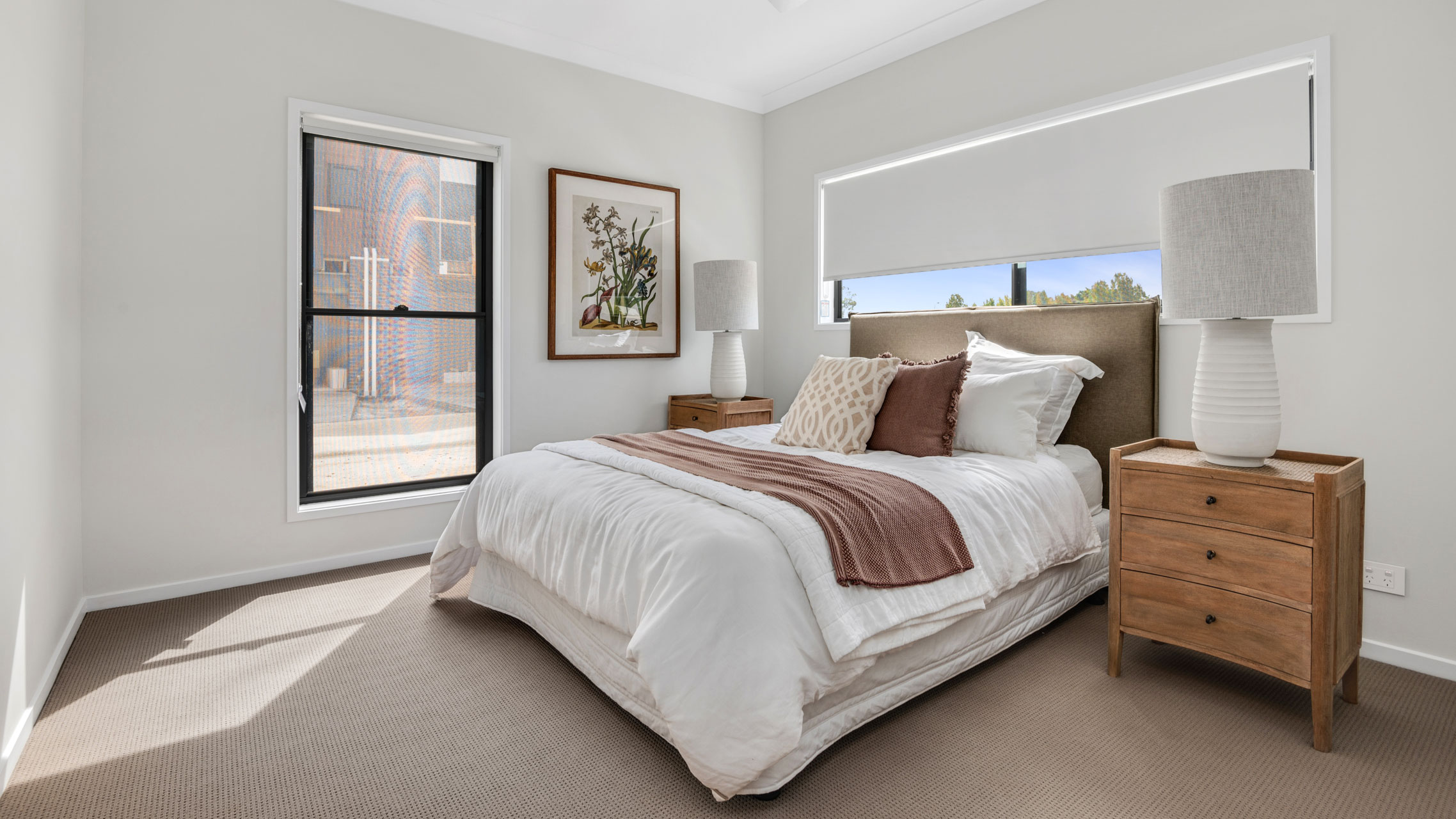 Black Double Hung Window in a bedroom