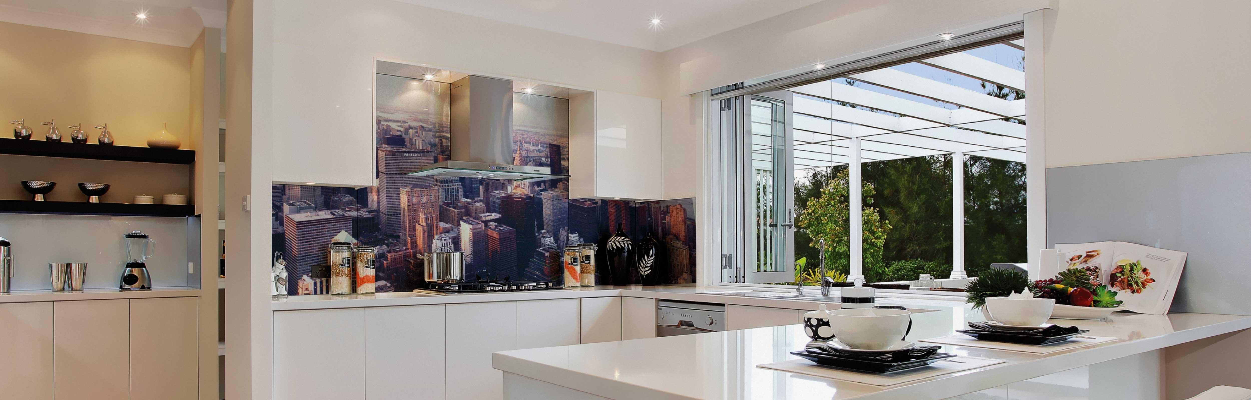 Image Glass Splashbacks above a kitchen bench