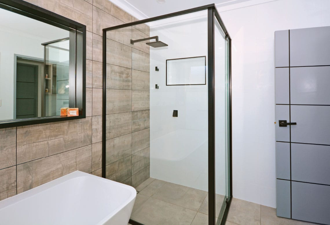 Shower Screens with black frame