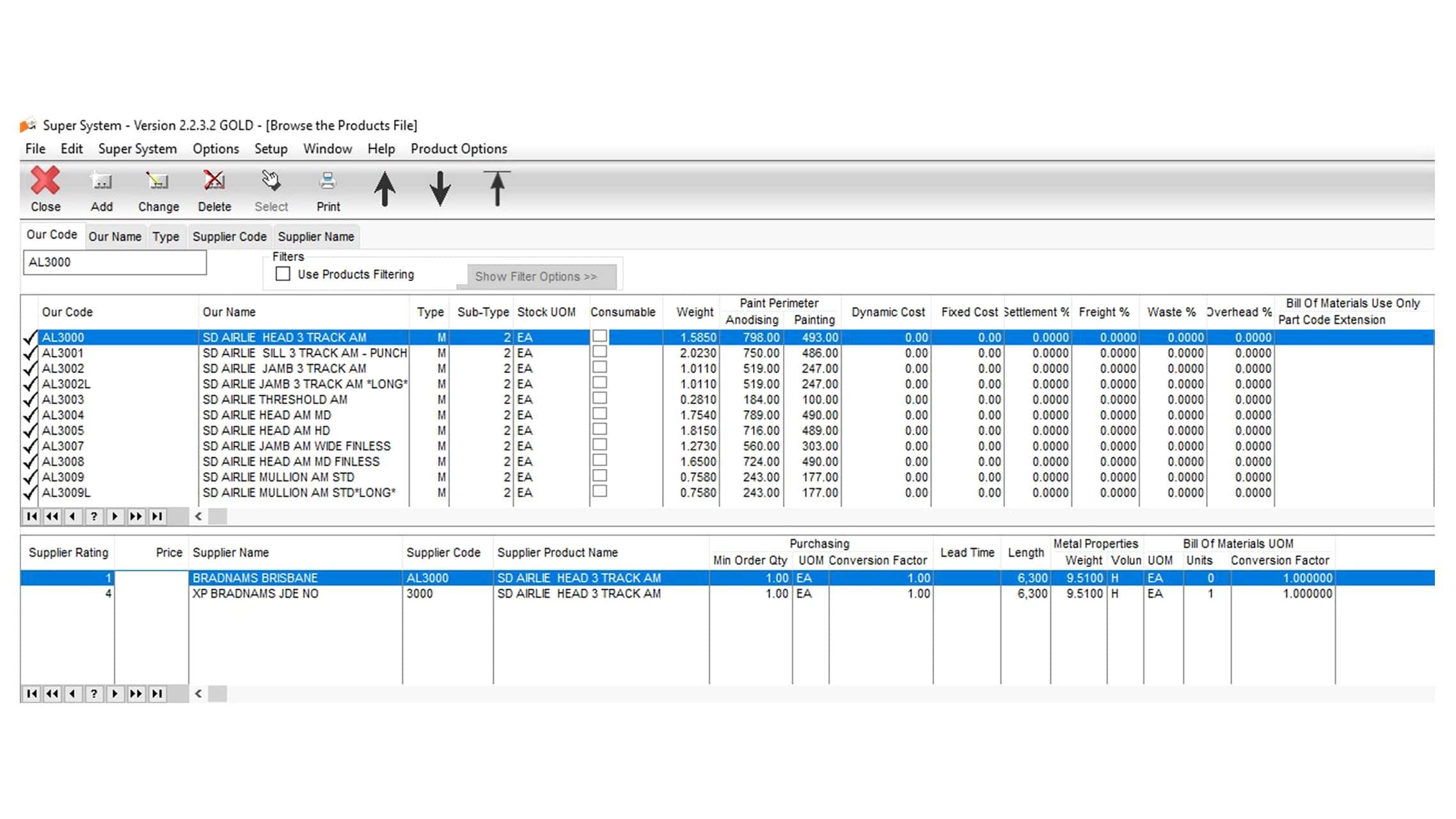 Business Software list of window and door extrusions