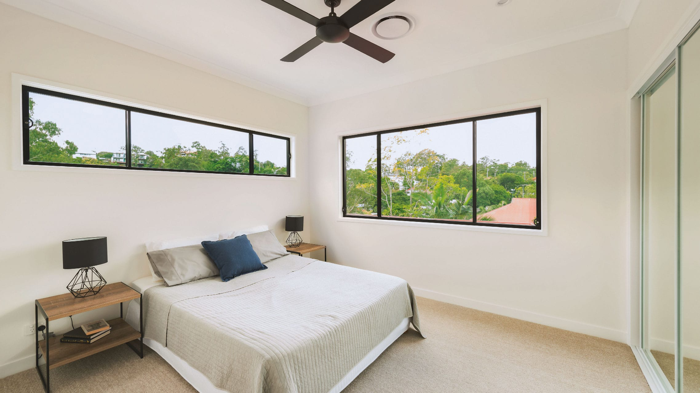 Two Aluminium Sliding Windows in the bedroom