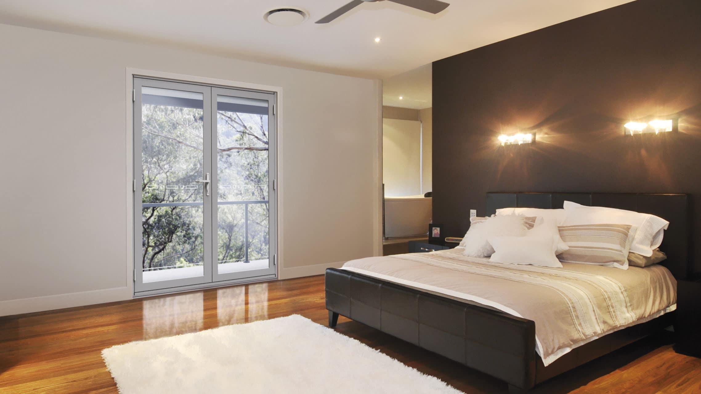 Ultra Silver Aluminium Hinged Door in a bedroom