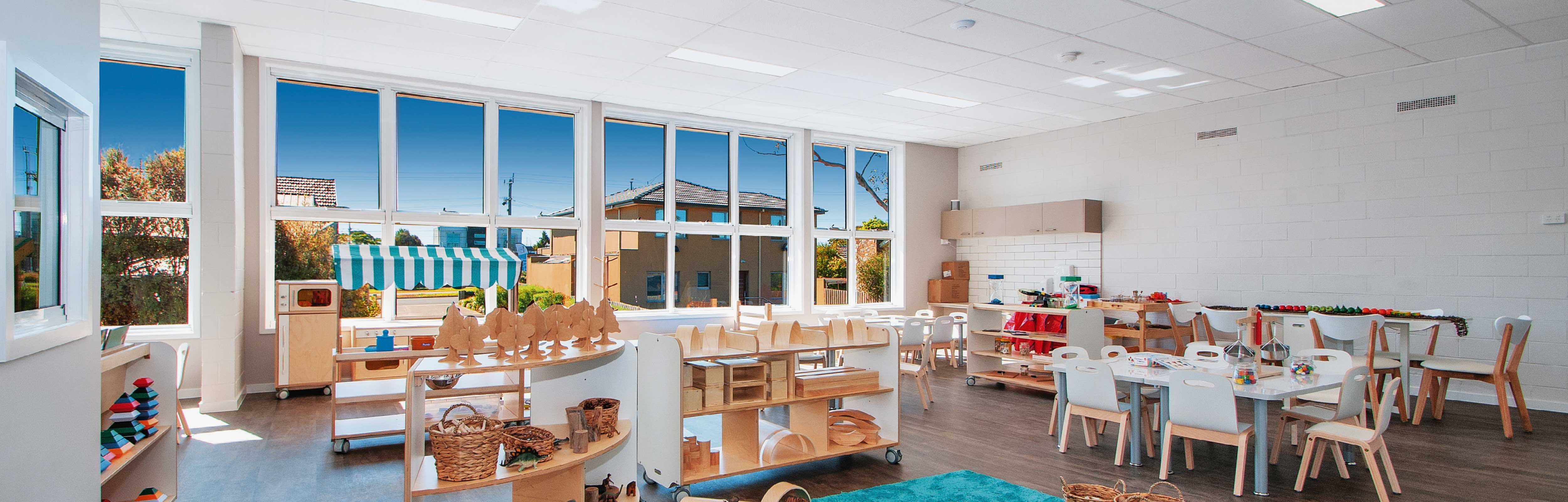 White Aluminium Awning Windows in a childcare centre