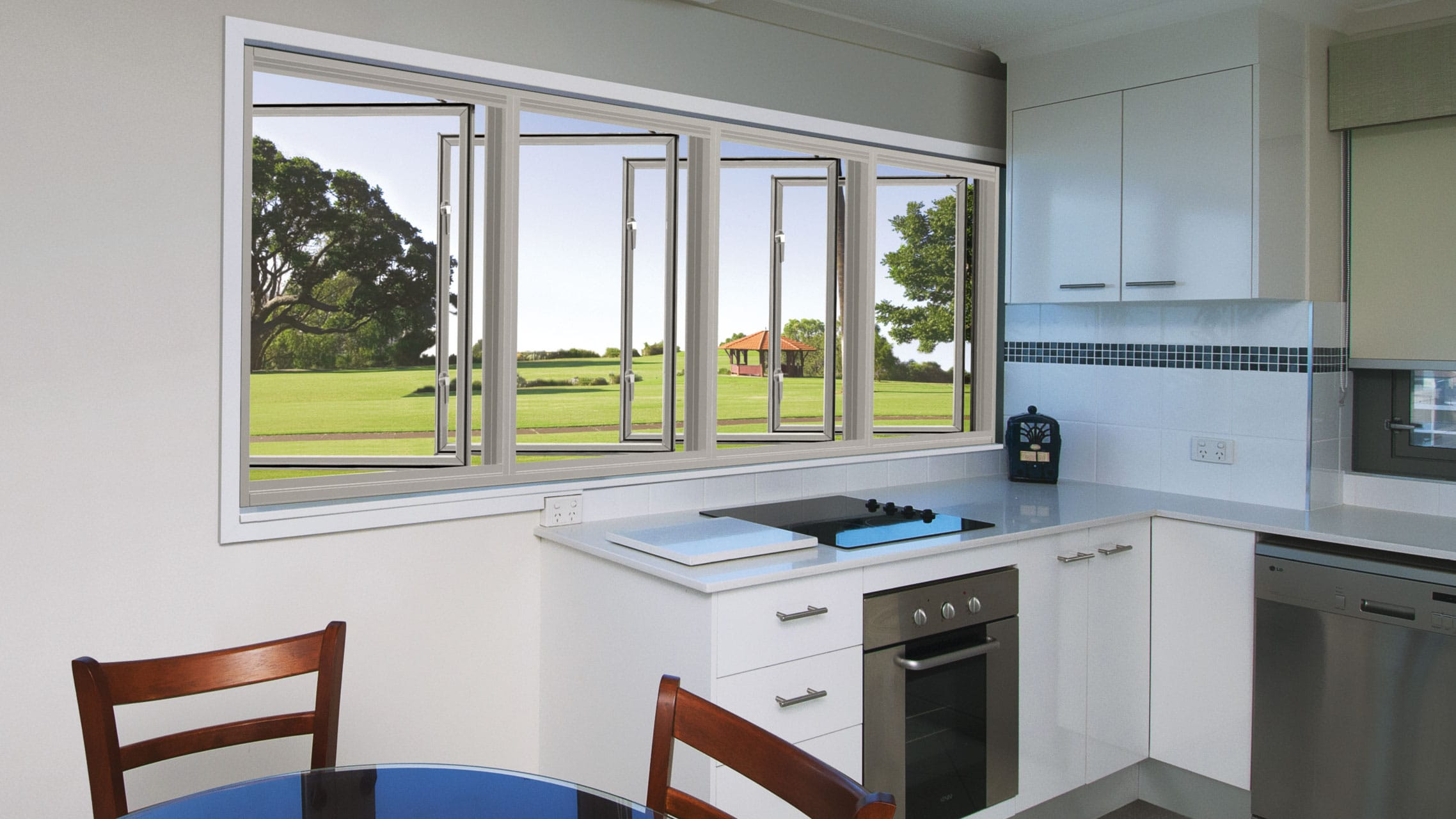 White Aluminium Casement Windows above a kitchen bench