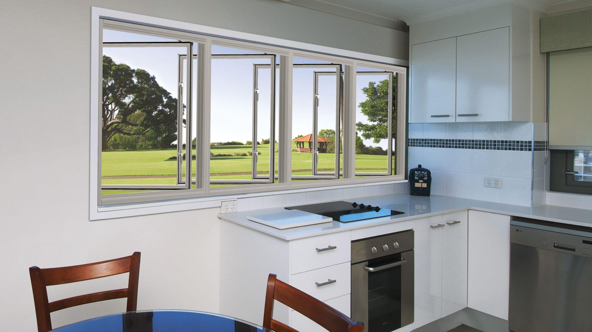 White Aluminium Casement Windows above a kitchen bench