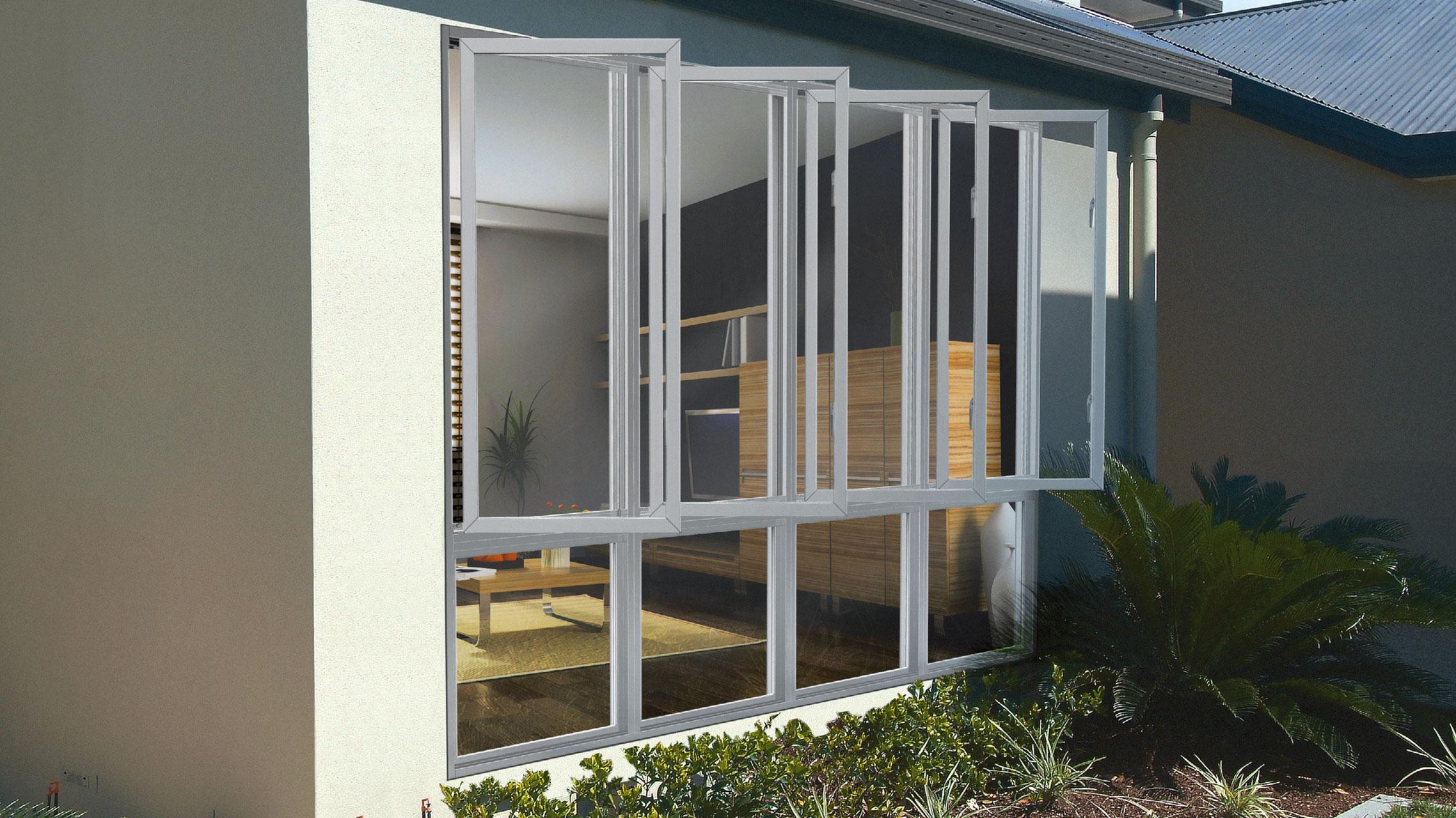 White Aluminium Casement Windows with low lites