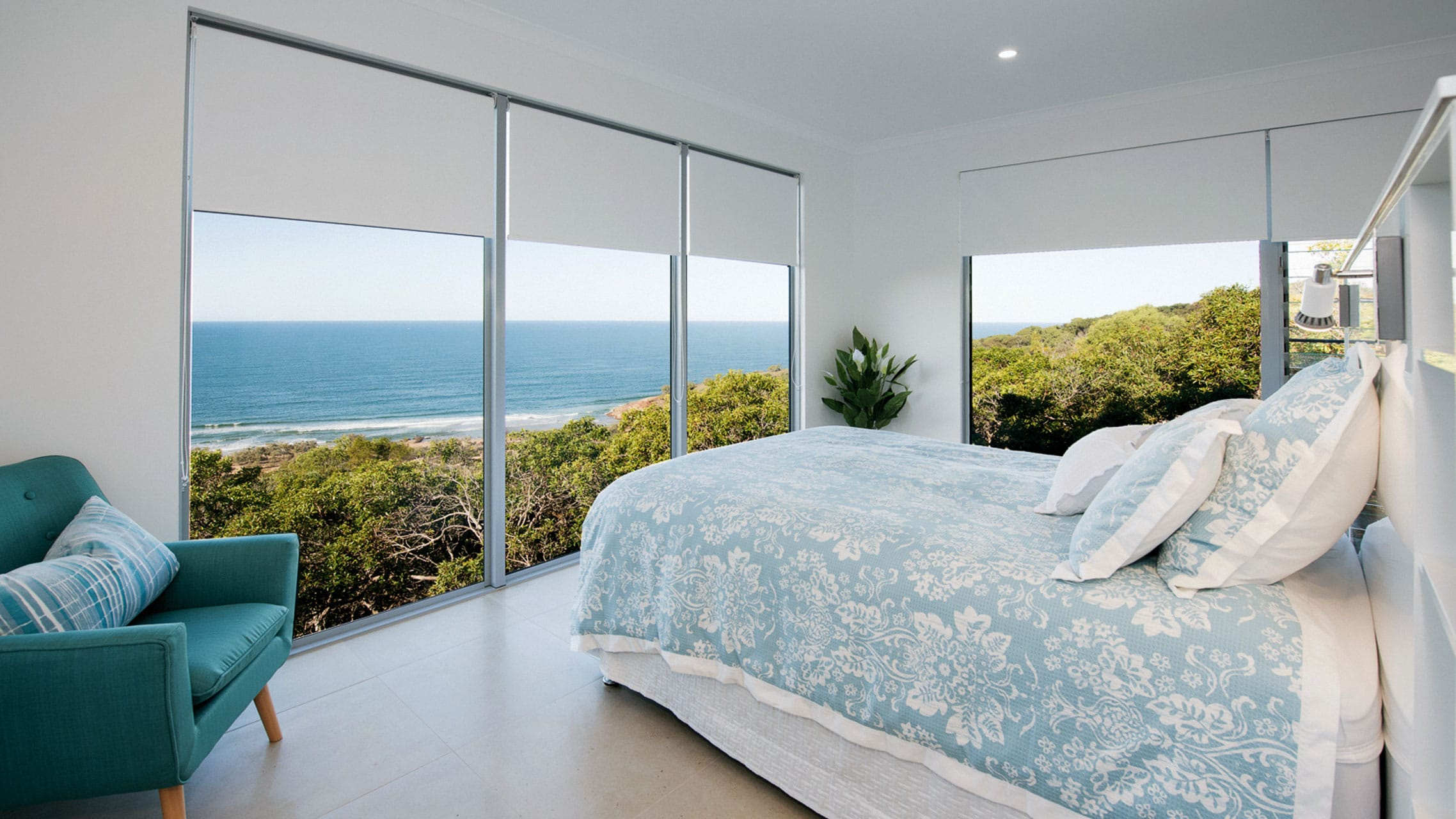 Large Fixed Windows in a bedroom
