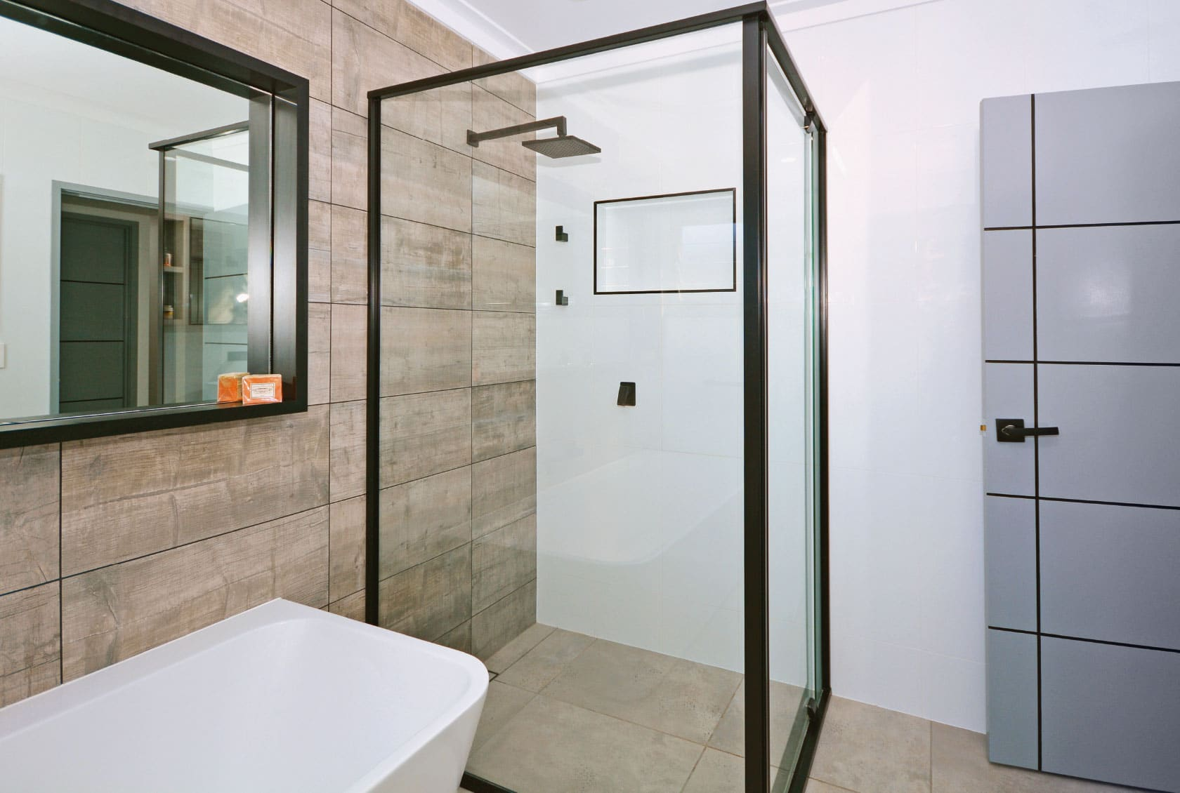 Black Framed Hinged Shower Screen