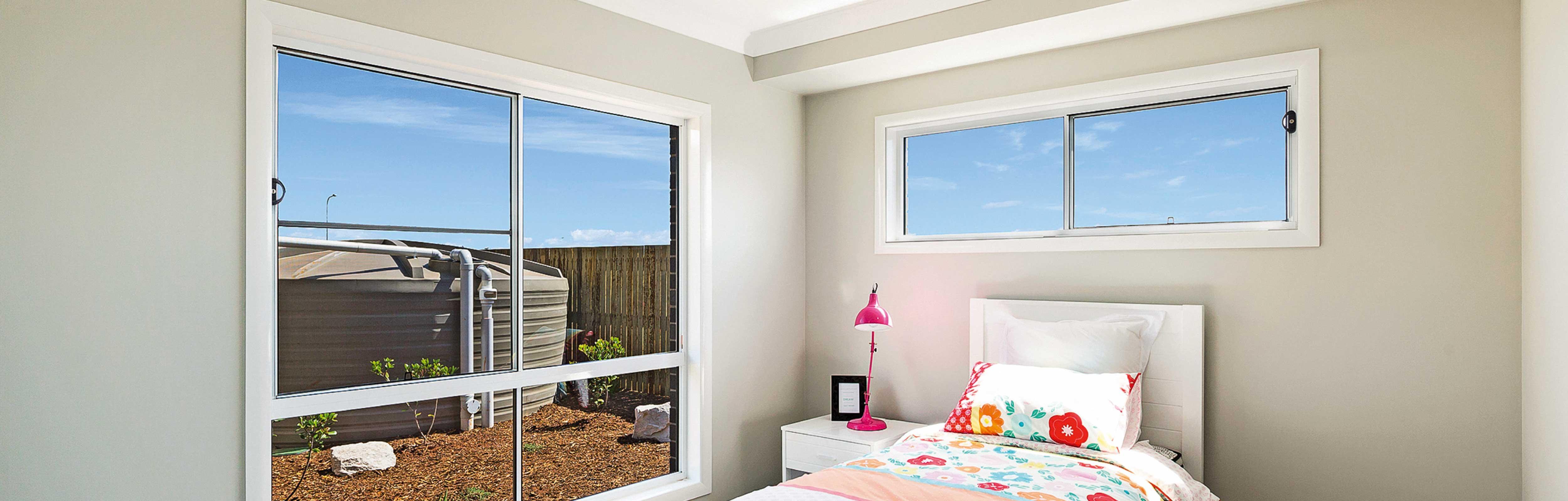 Two White Aluminium Sliding Windows