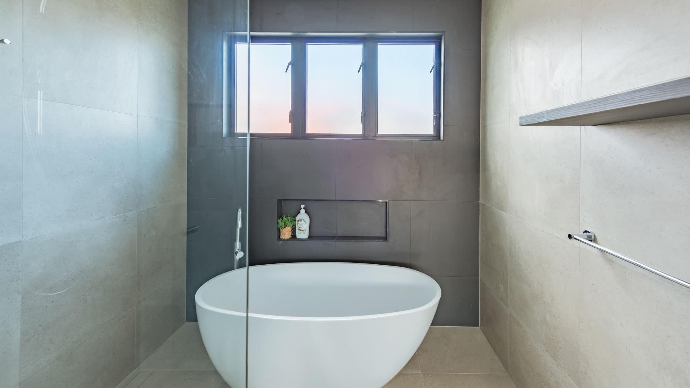 Casement Window in a bathroom