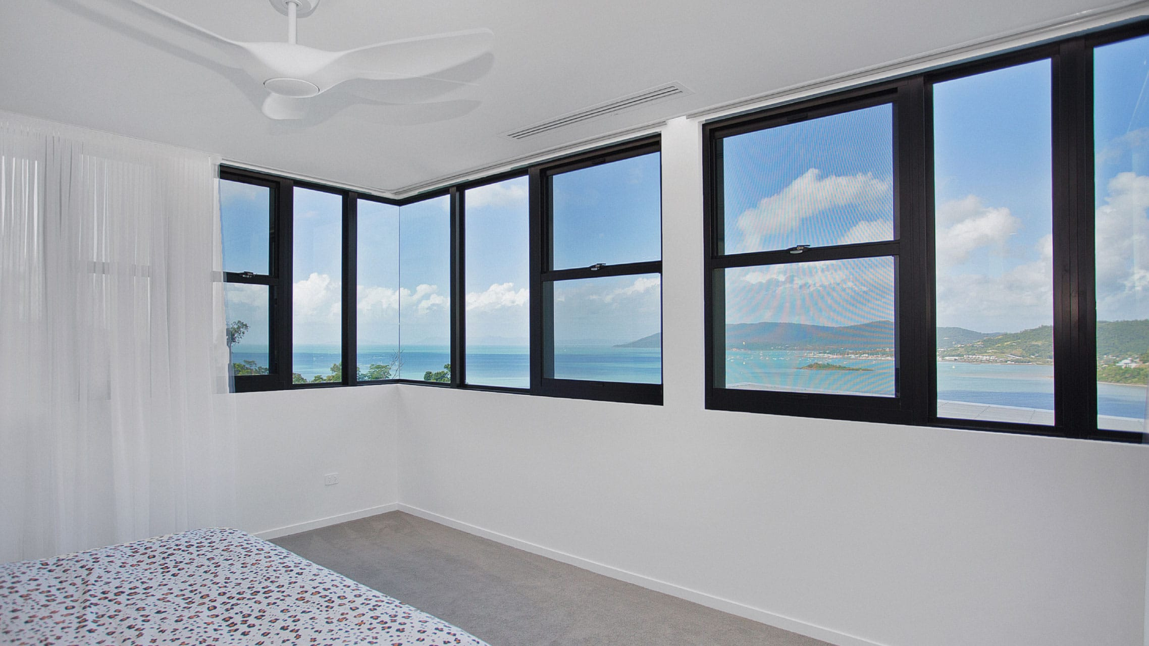 Multiple Double Hung Windows next to multiple fixed windows