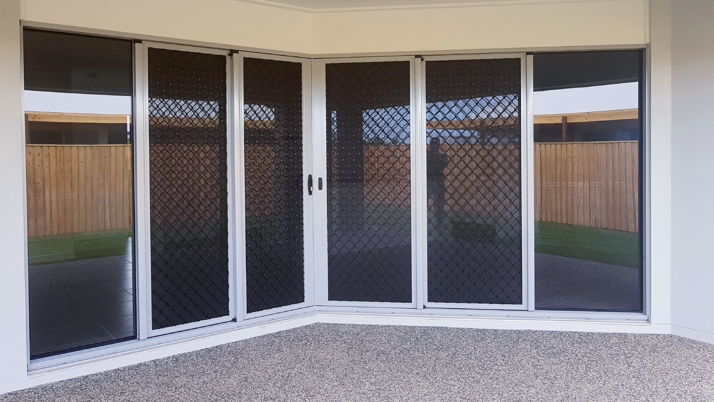 Sliding Door Safety Screens with black grille
