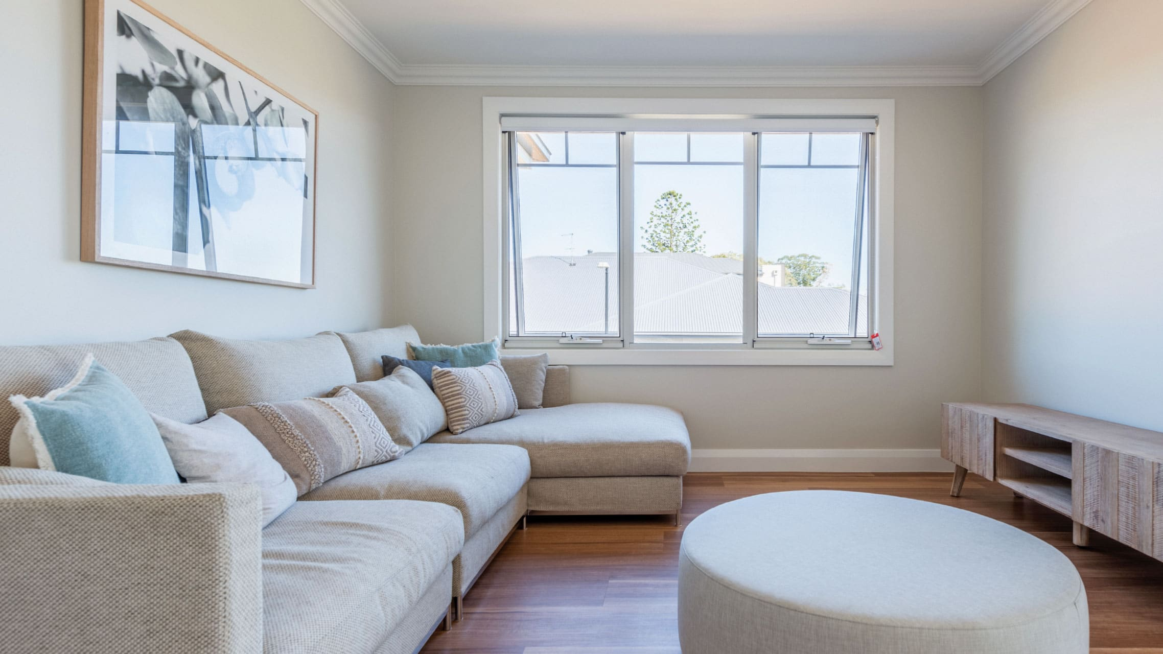 White Aluminium Awning Window in a living room