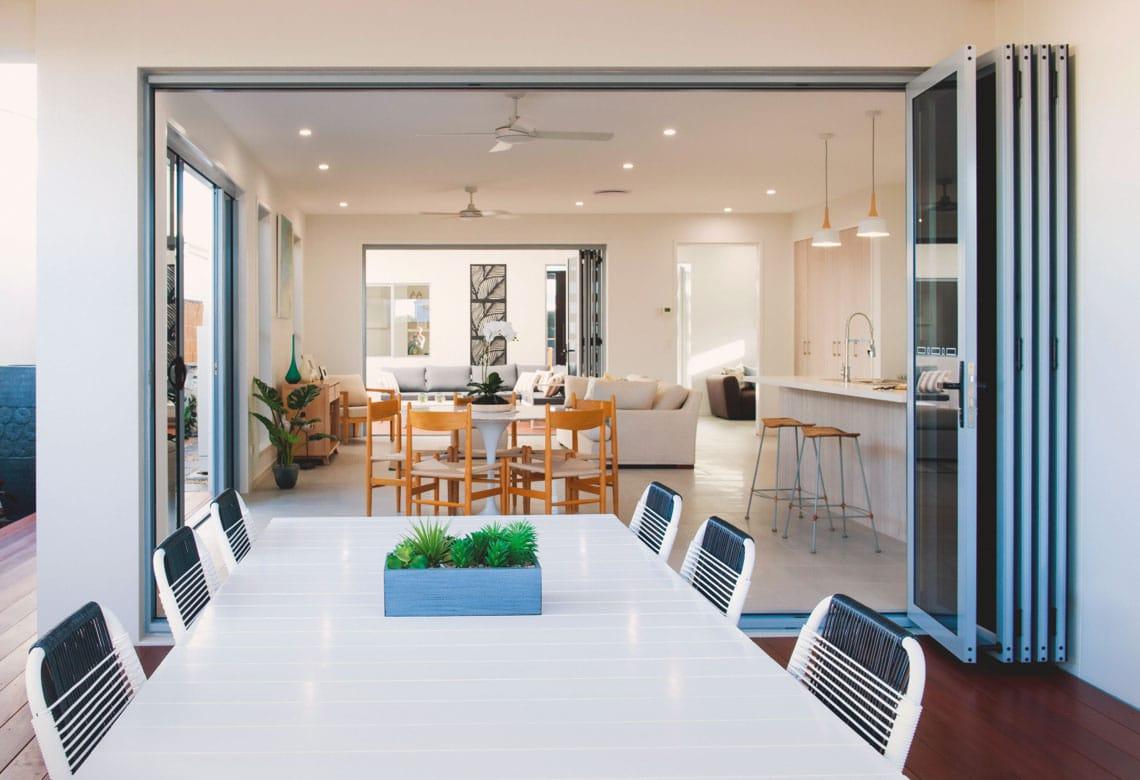Ultra Silver Aluminium Bi fold Doors in the kitchen