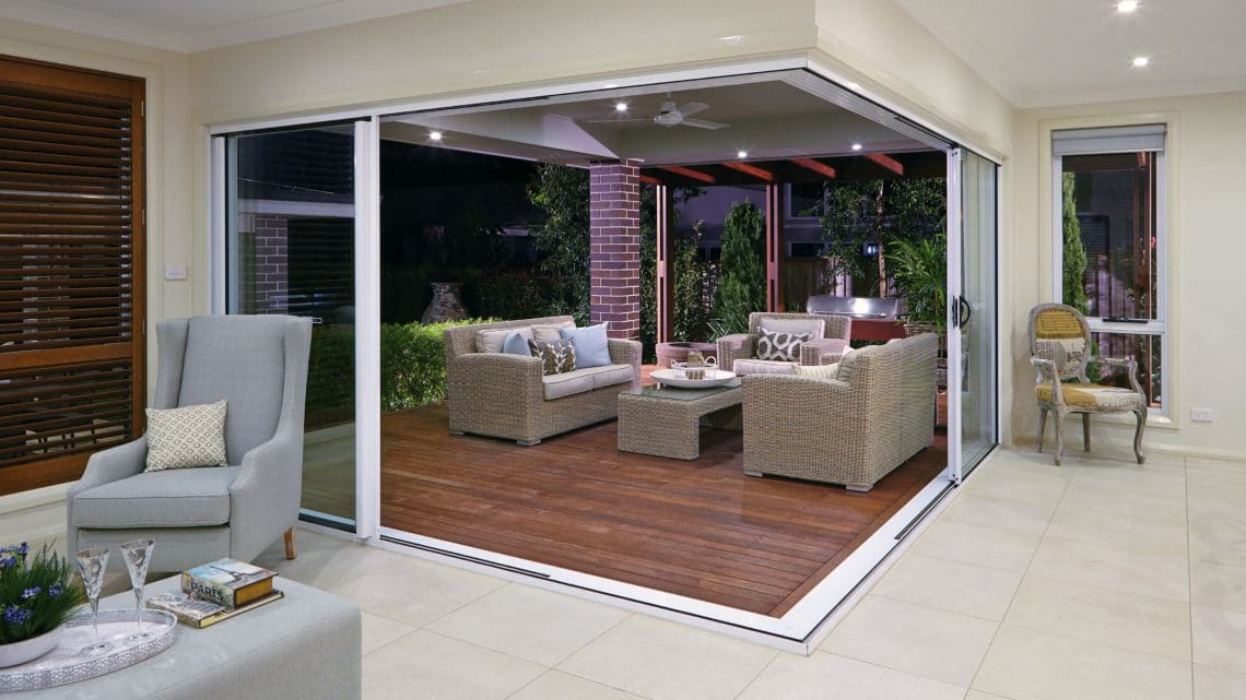 Aluminium Corner Sliding Doors in a living room
