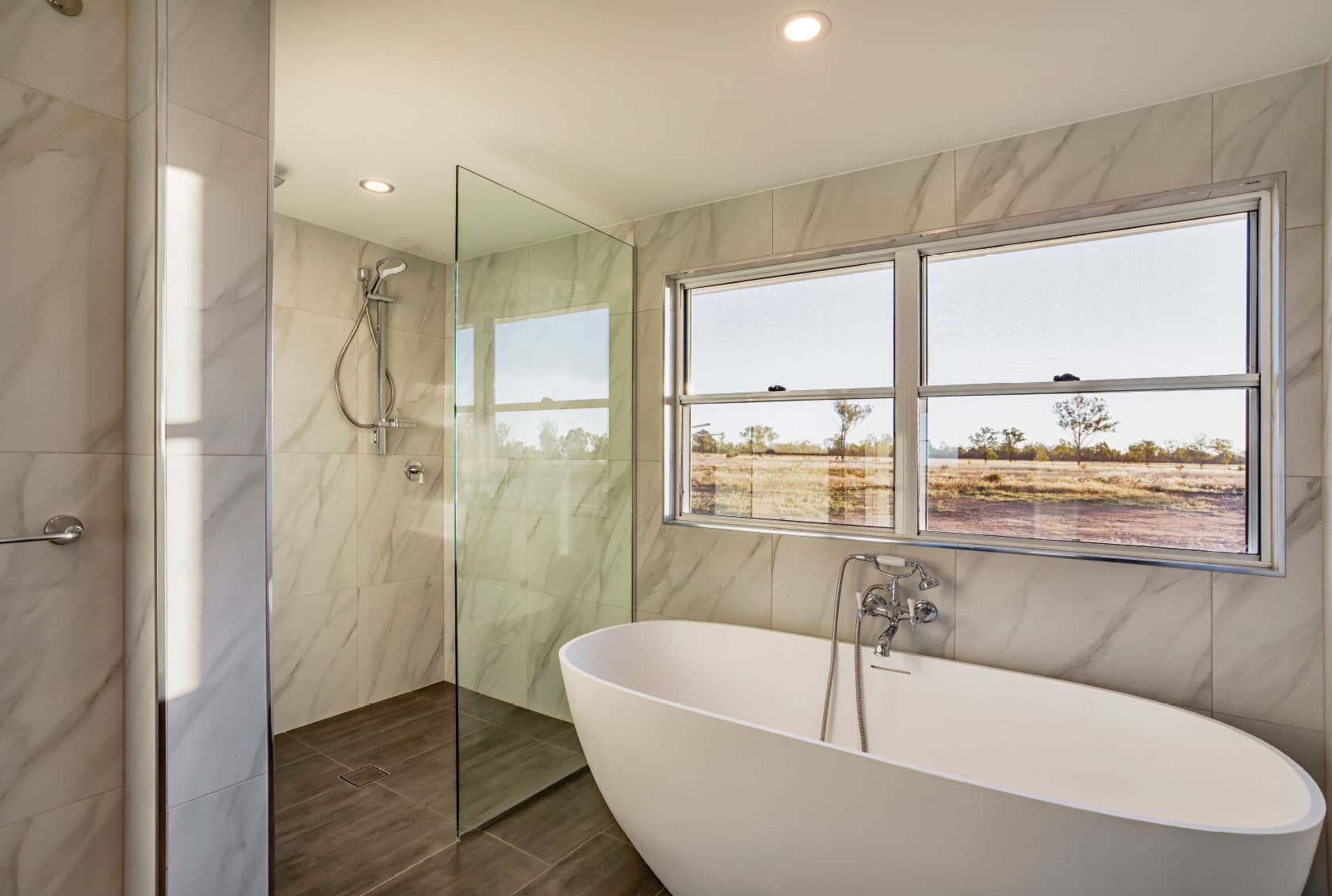Double Hung Window above a bathtub
