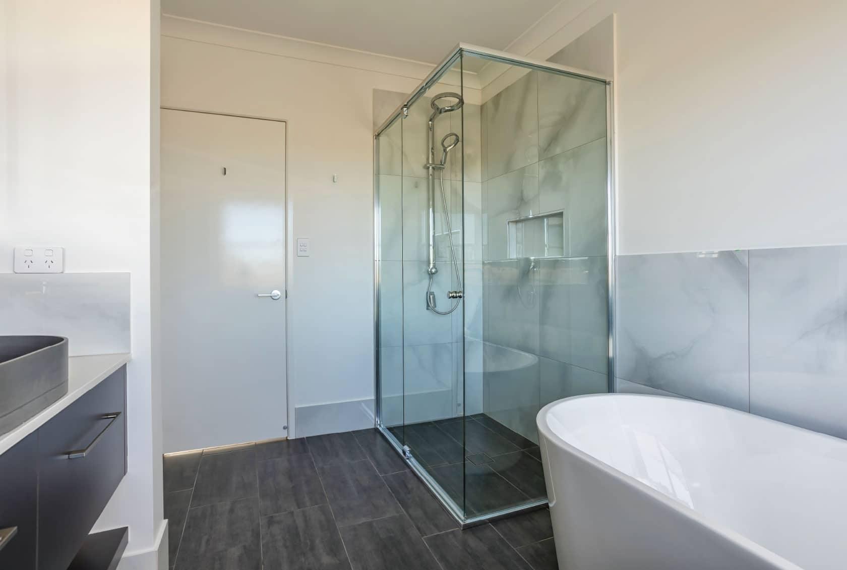 Large semi frameless shower screen