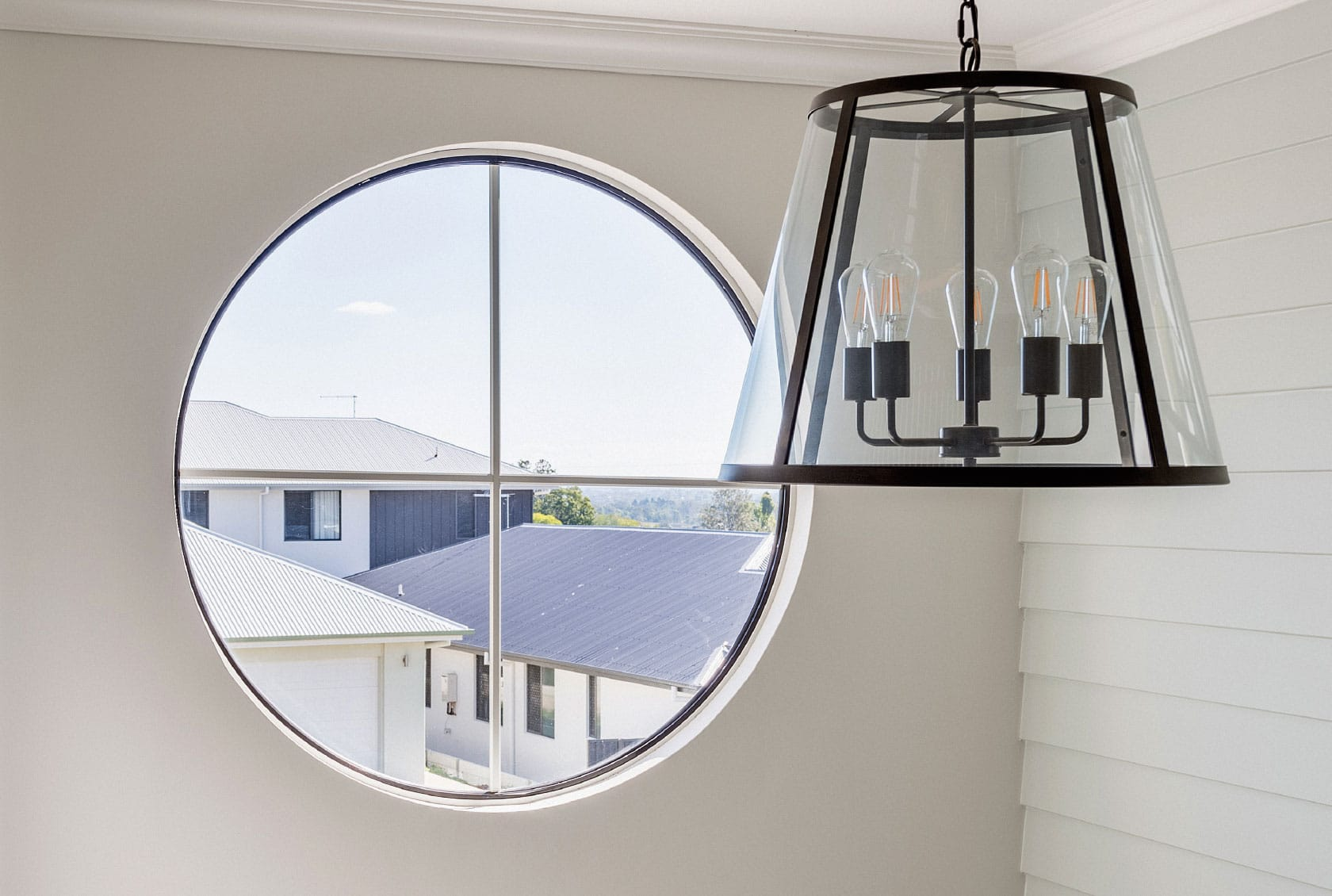 White Circle Window with colonial bars