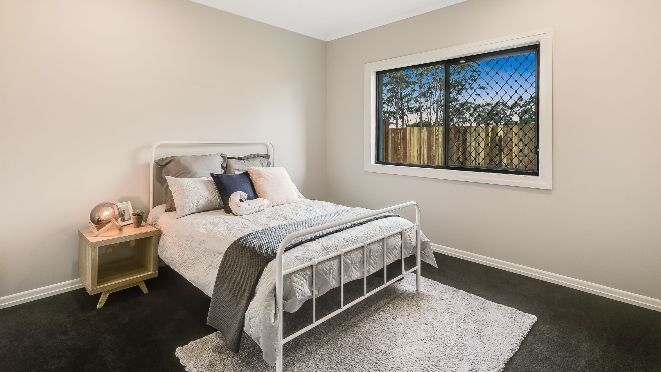Black Window Safety Screen in bedroom