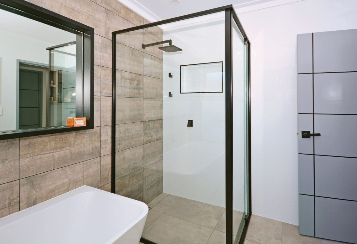 Black framed shower screen