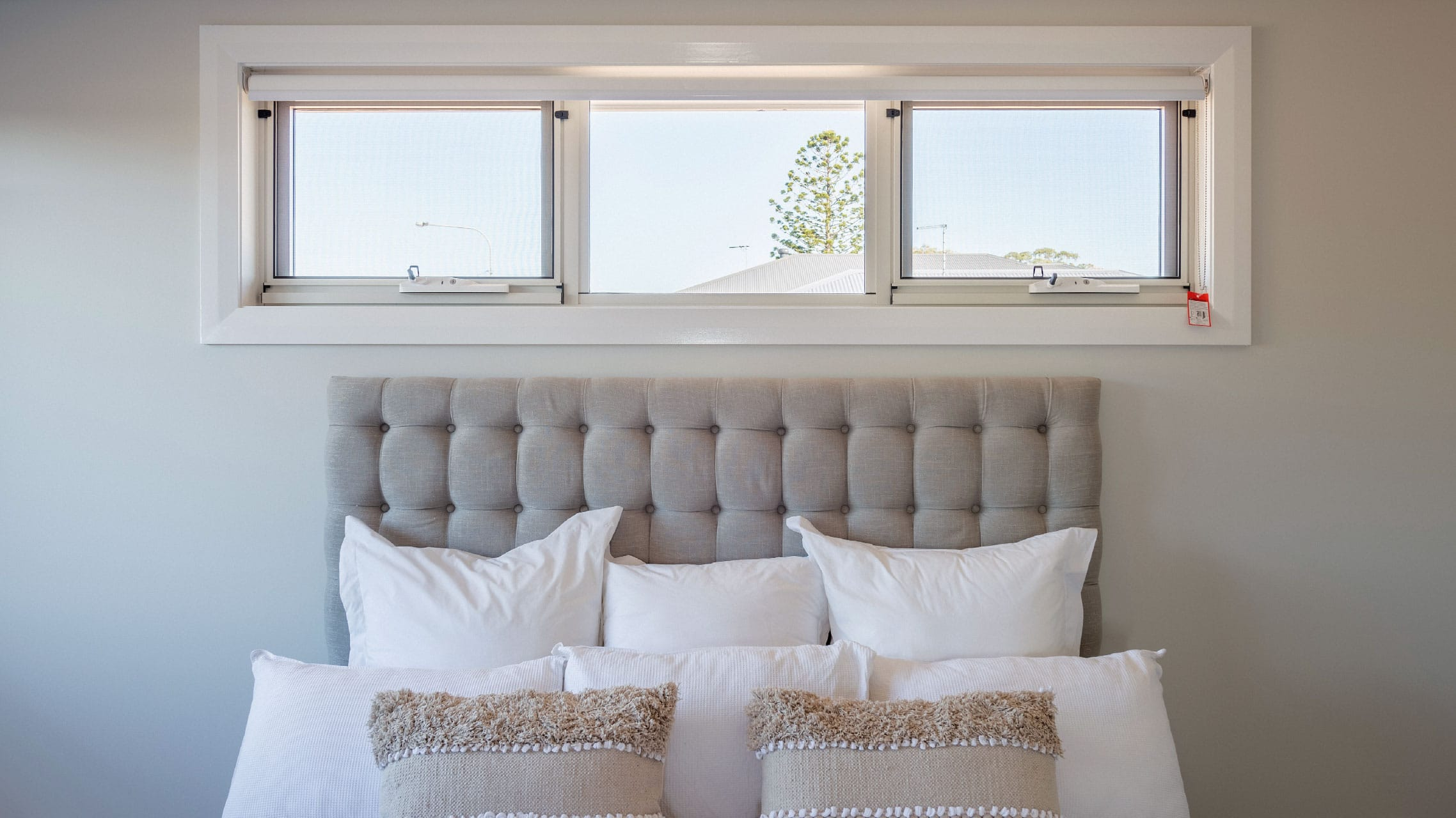 White Awning Window in a bedroom
