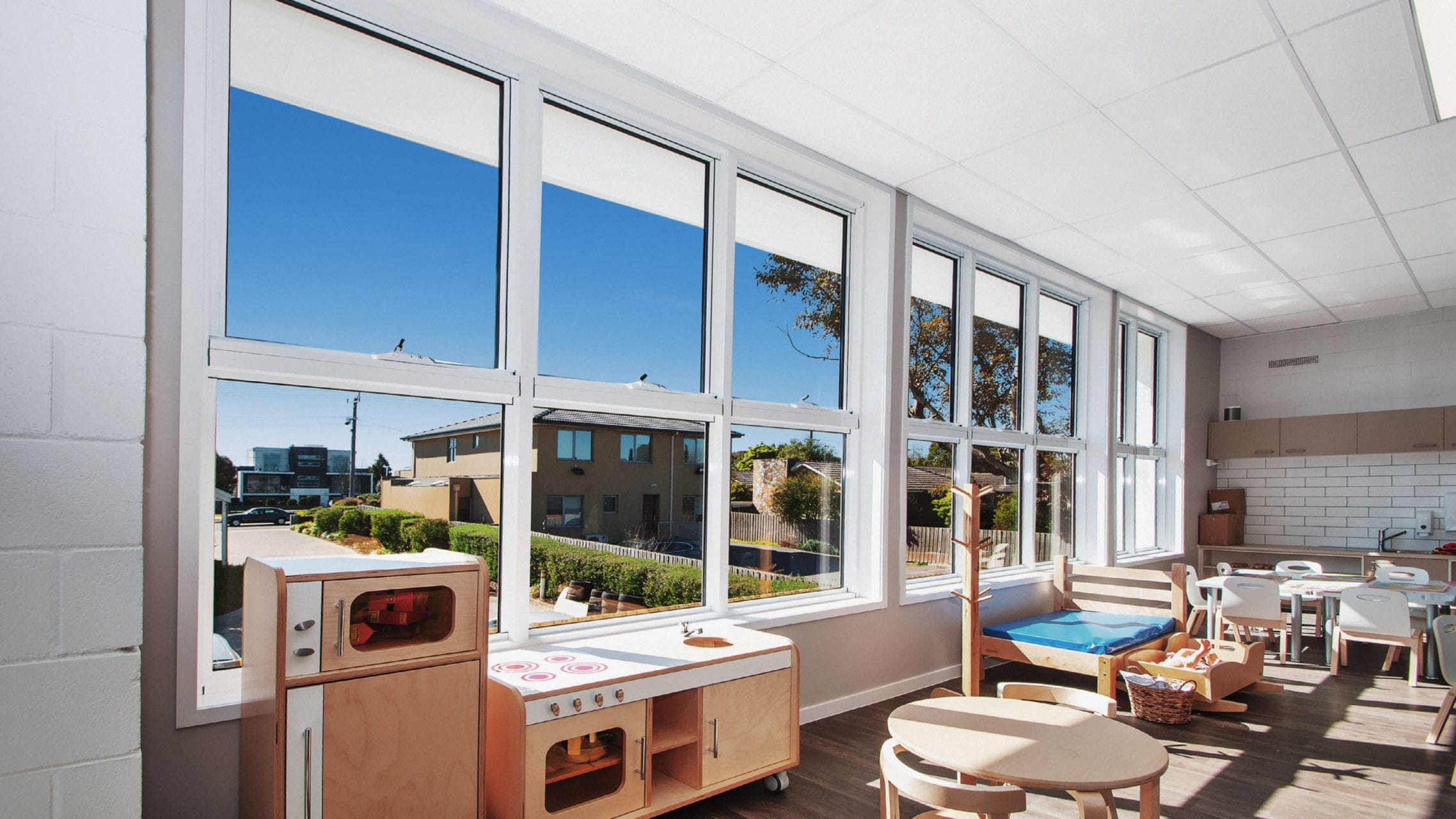 White Awning Windows in a childcare centre