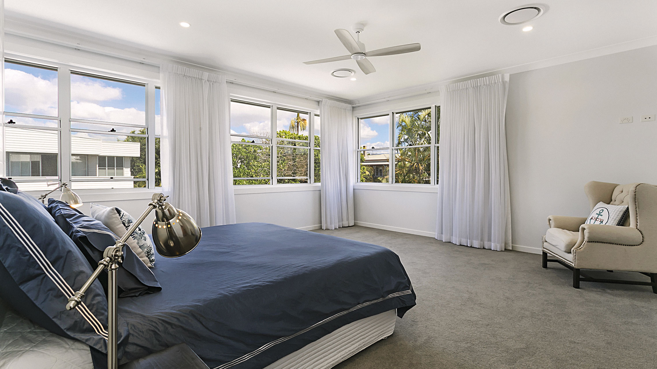 White Double Hung Windows in a bedroom