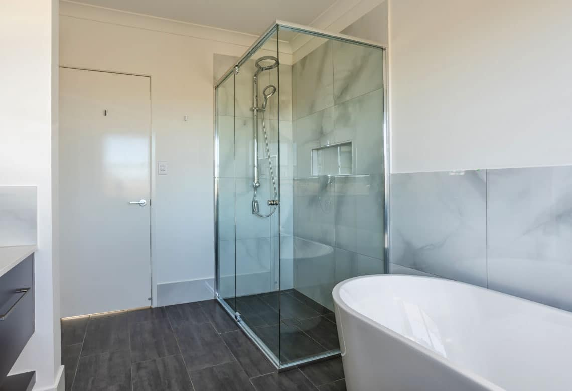 Aluminium and glass shower screen door