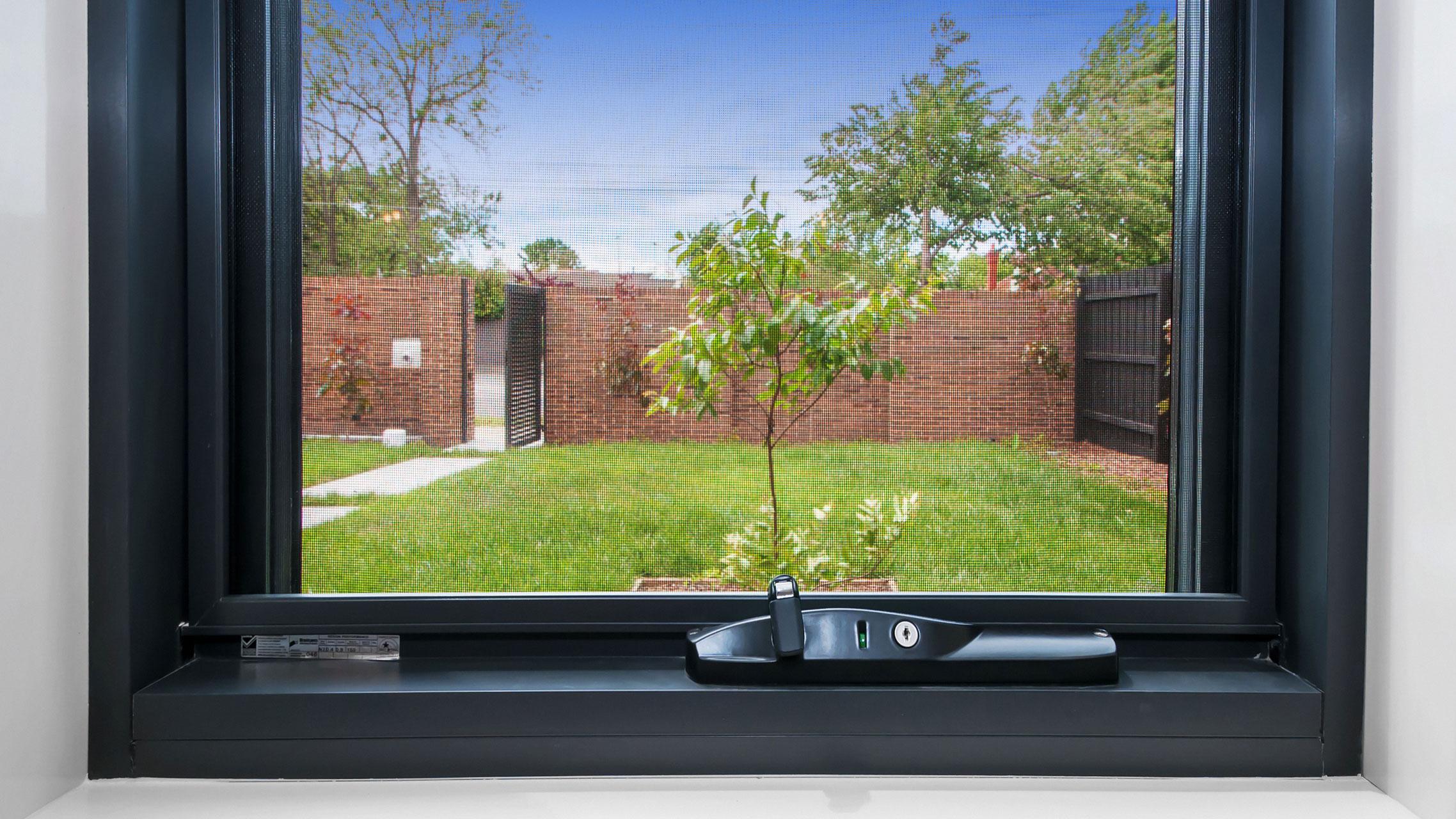 Close up of black awning window winder