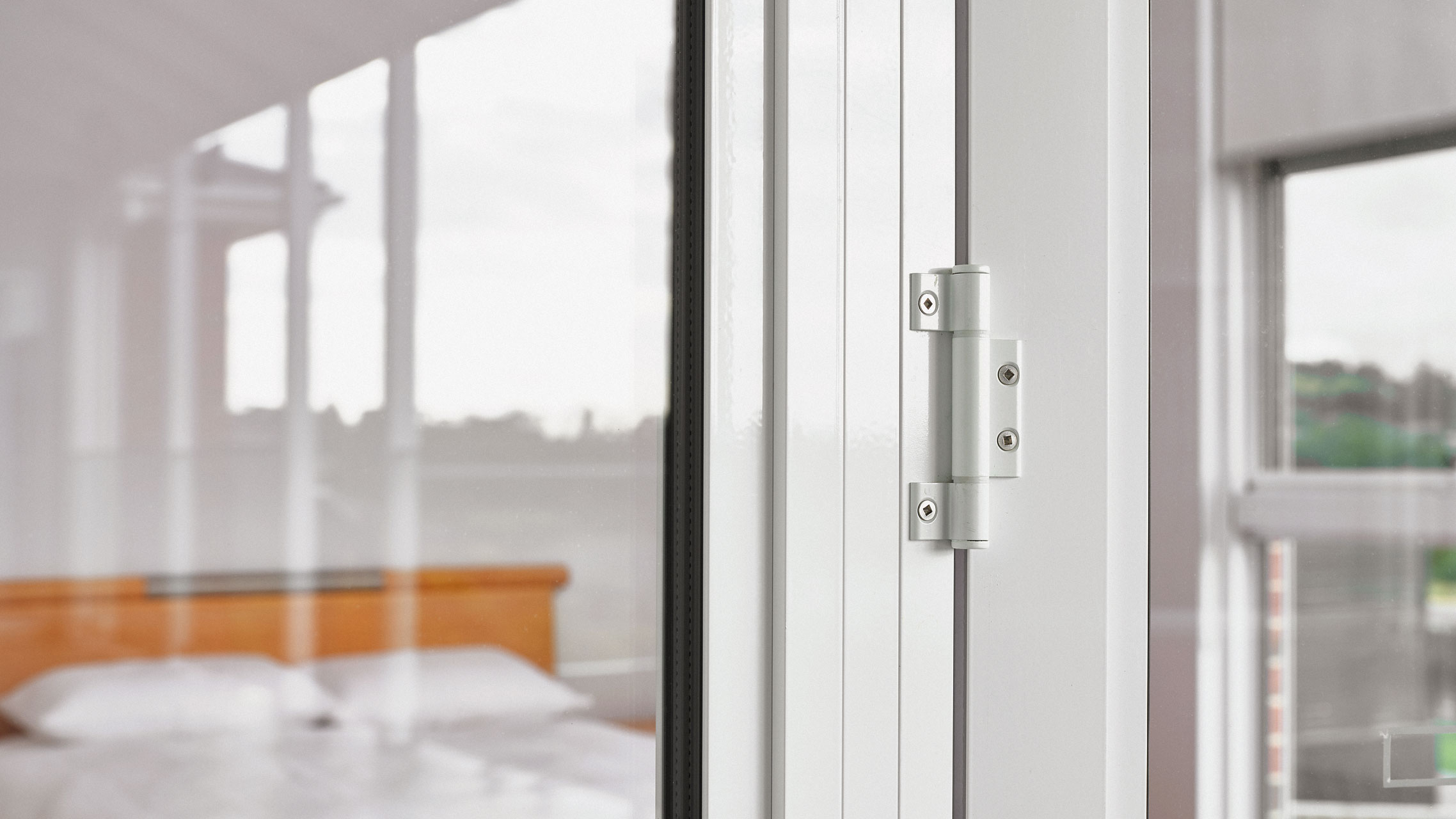 Close up of french door hinges