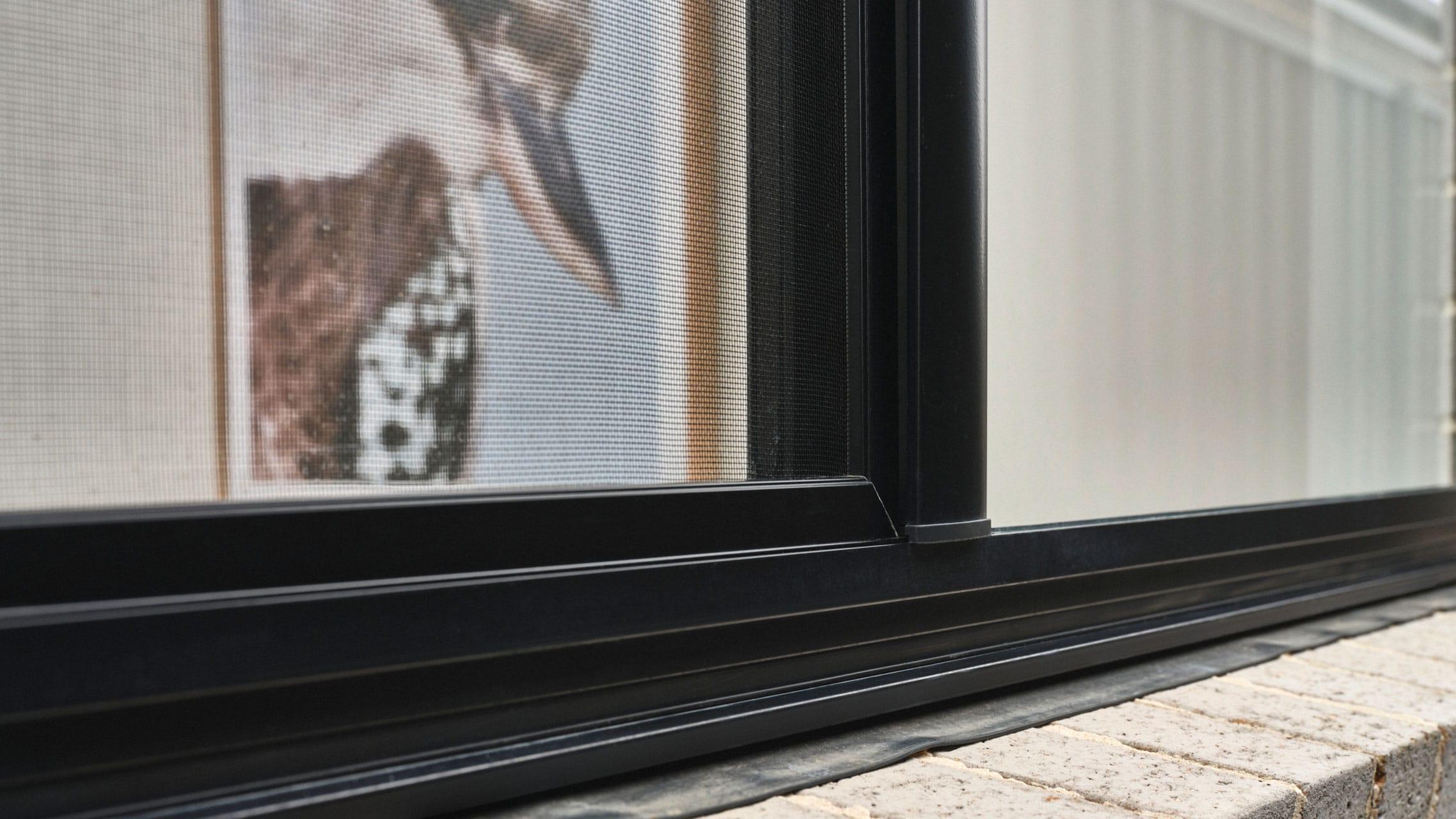 Close up of aluminium sliding window
