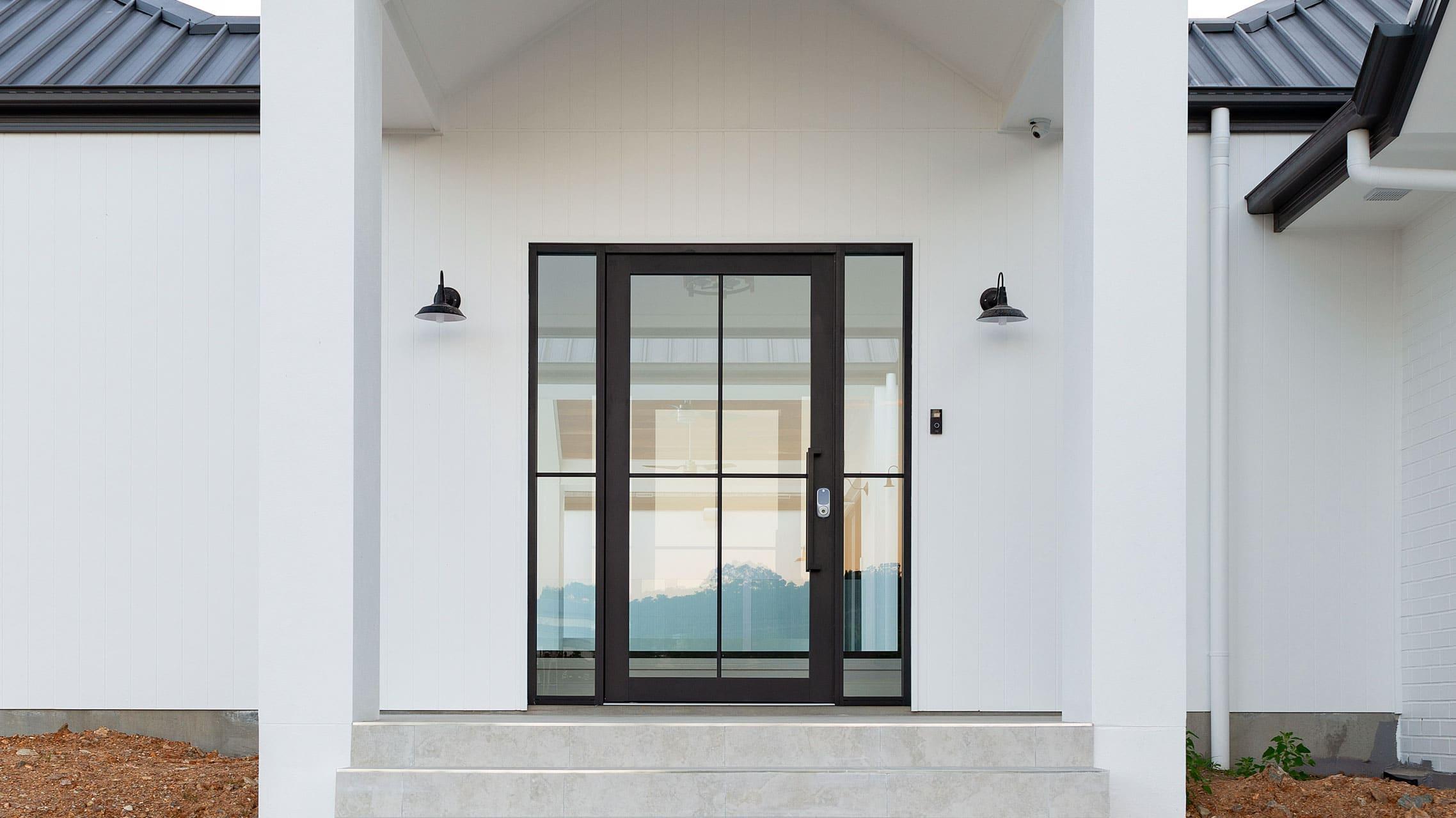 Black Pivot Door with sidelites