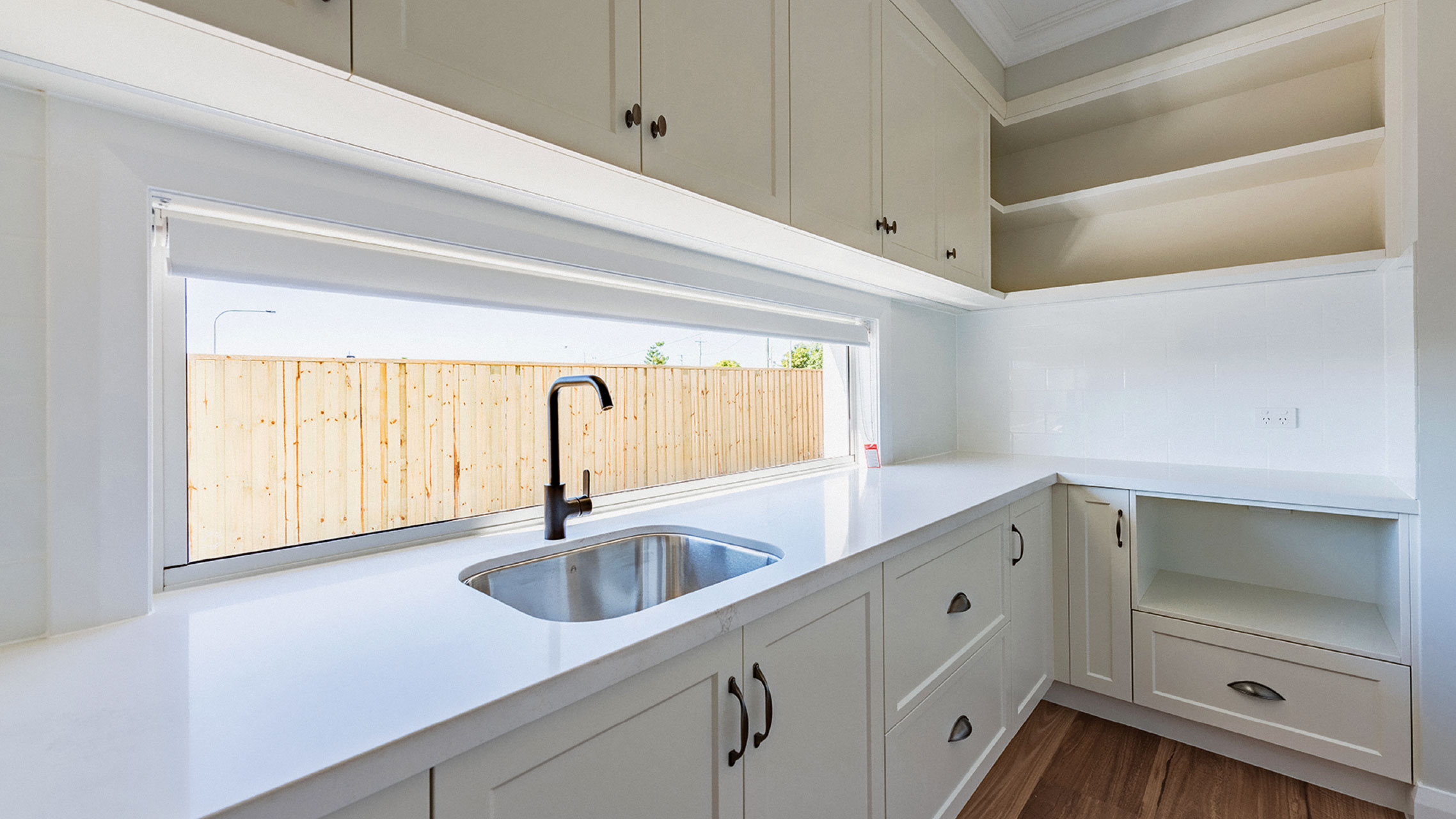 Aluminium Fixed Window above kitchen bench