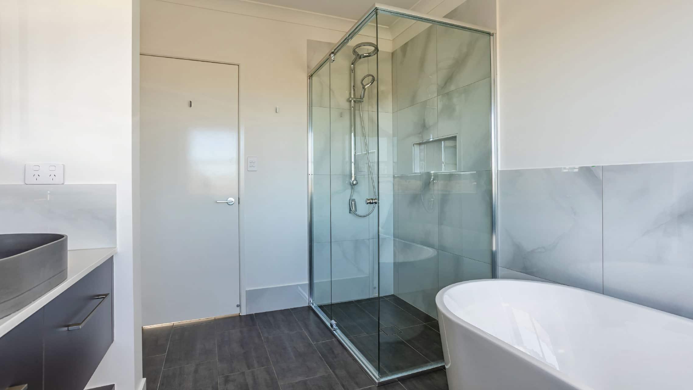 Semi Frameless Showerscreen in a bathroom