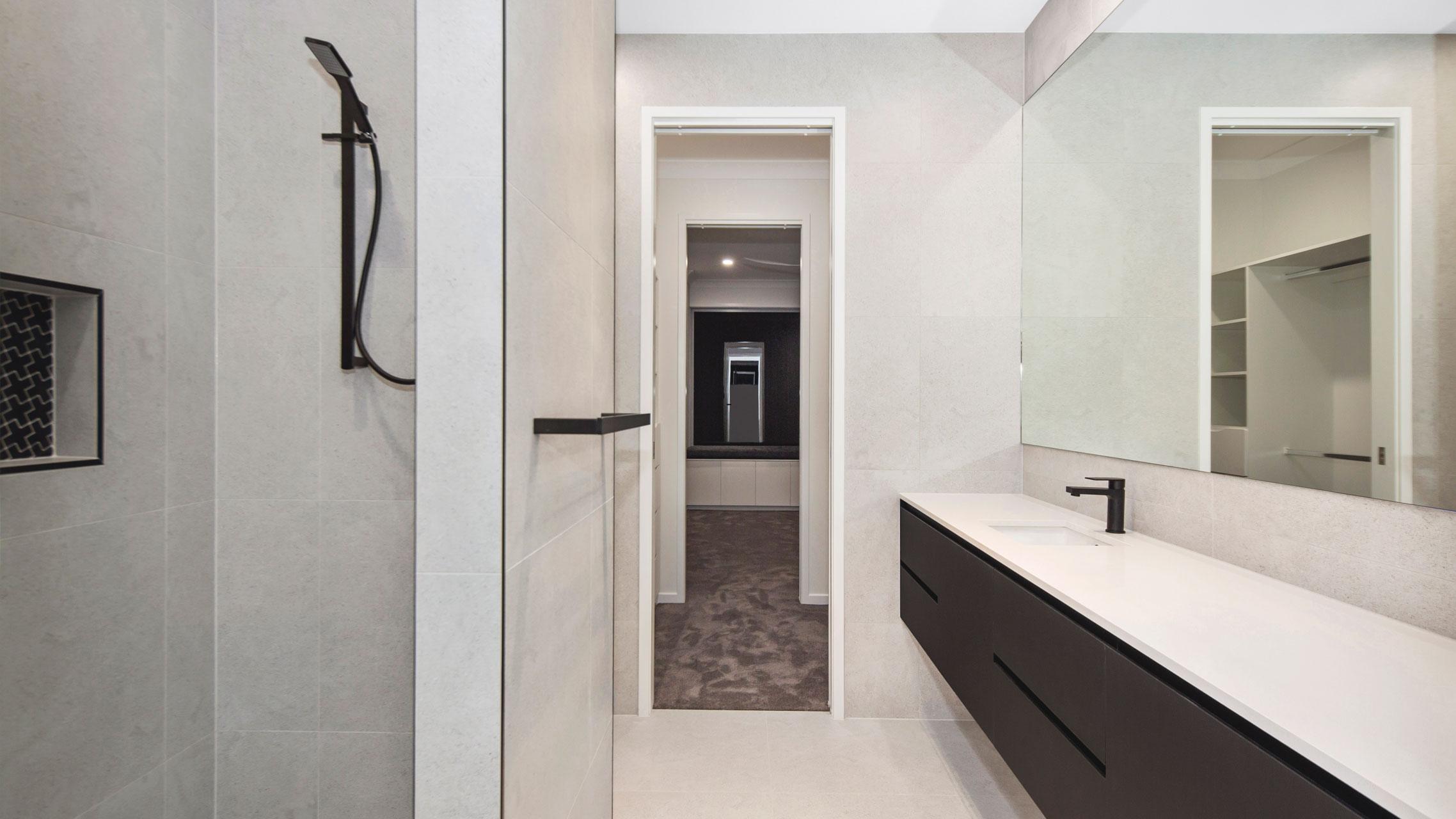 Big Frameless Mirror in bathroom