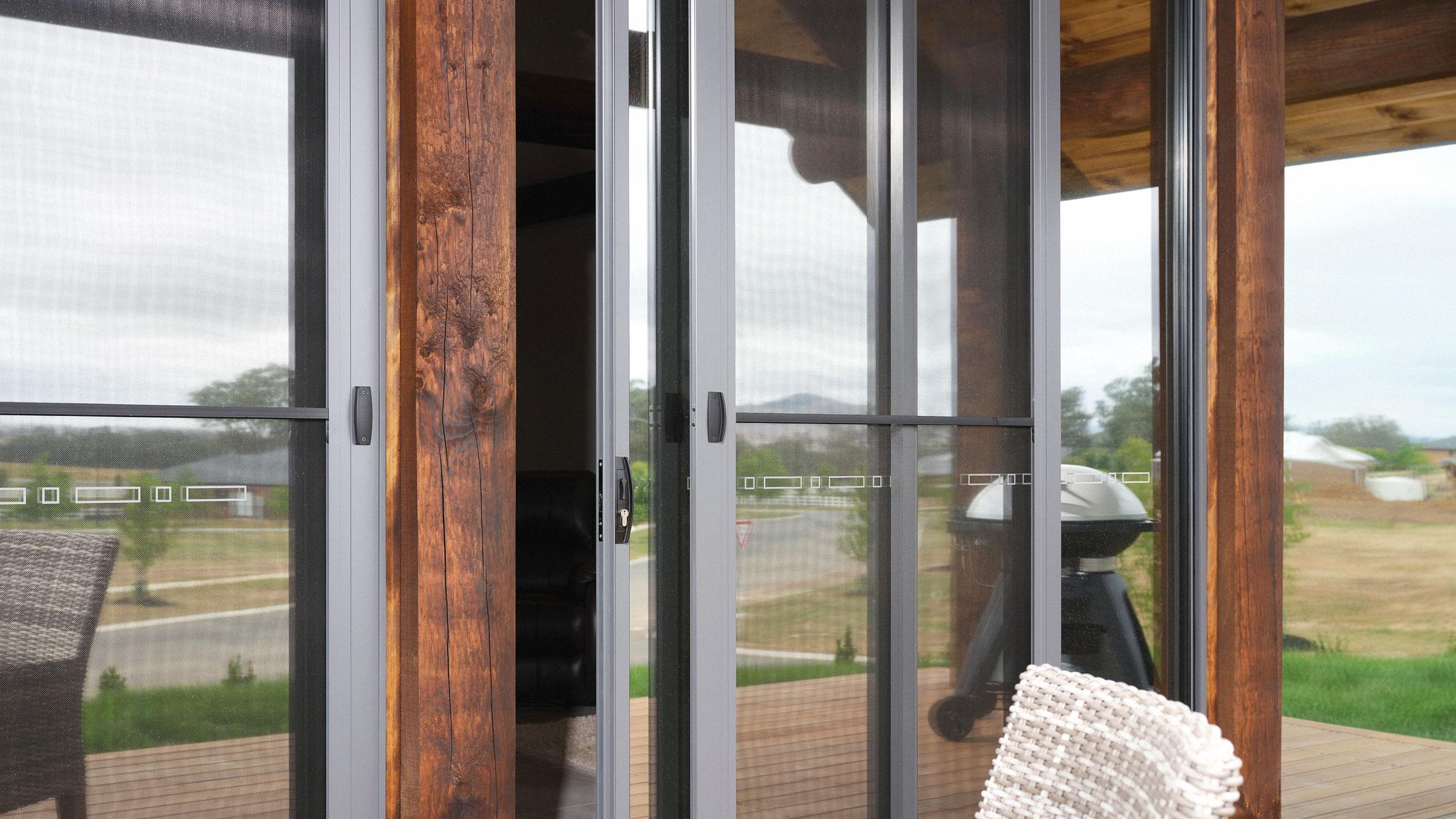 Close up of flyscreen doors