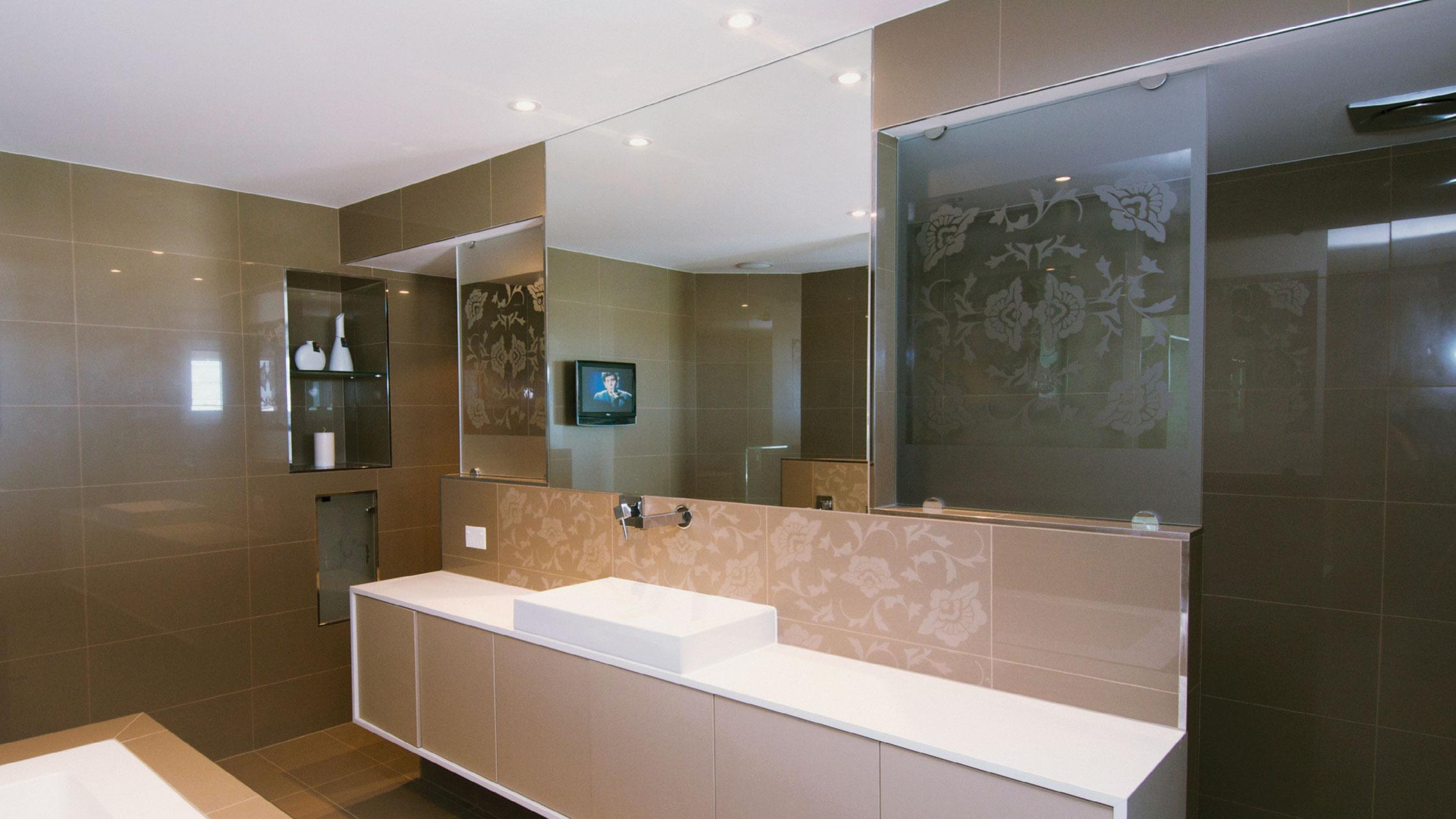 Large Frameless Bathroom Mirror above a vanity