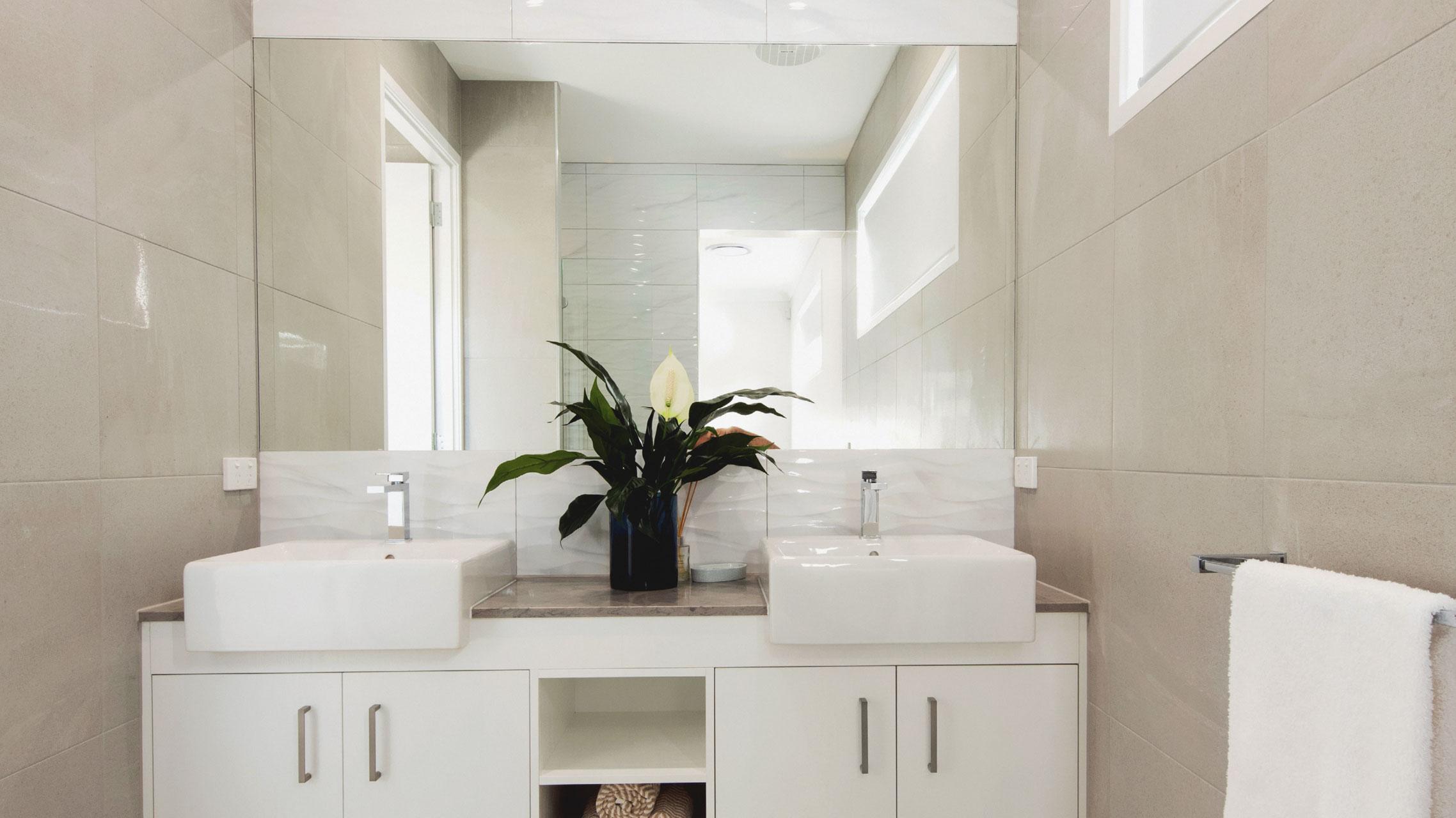 Semi-frameless Bathroom Mirror above a vanity