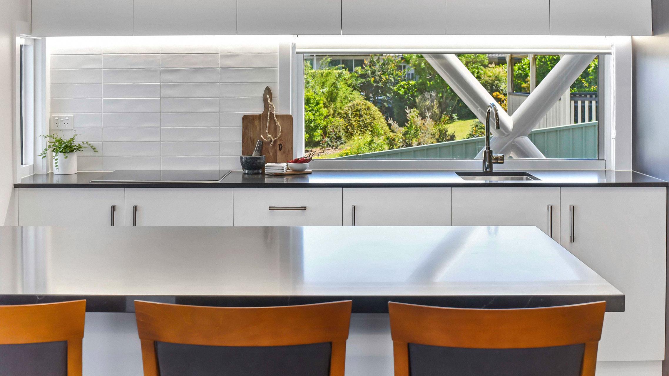 Fixed window kitchen splashback