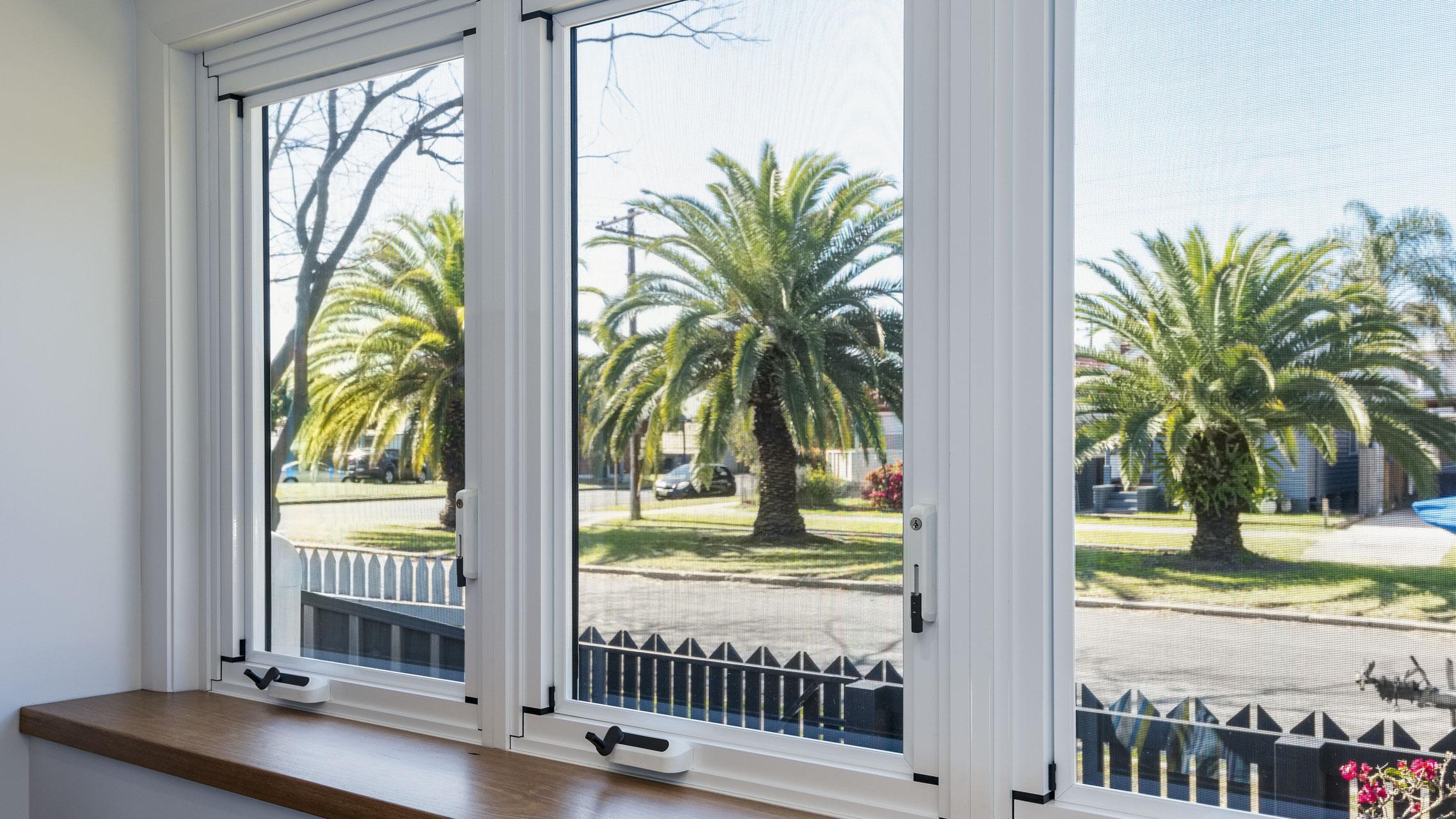 White Aluminium Casement Windows closed
